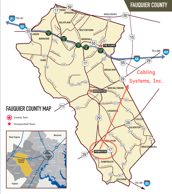 Map of Fauquier County VA